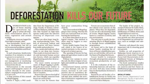 De-Forestation Kills Our Future